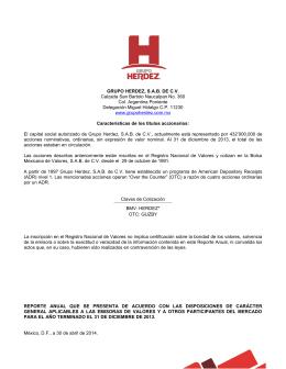 2014-04-30 Grupo Herdez Reporte Anual BMV 2013