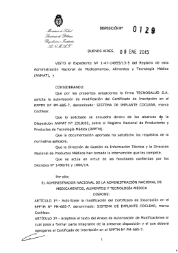 0129-15 tecnosalud - modifica certificado