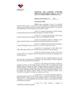 sentencia del sumario sanitario ordenado por resolucion nº 1942