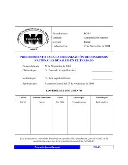 PG-05: Procedimiento para la organización de congresos