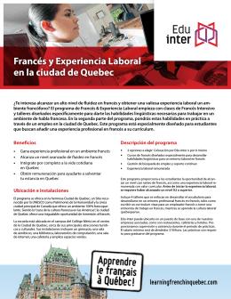 Francés y Experiencia Laboral en la ciudad de Quebec