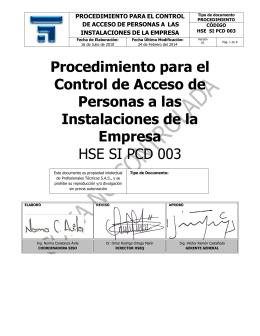 PCD CONTROL DE VISITANTES HSE SI PCD 003