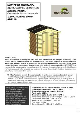 NOTICE DE MONTAGE/ INSTRUCCIONES DE MONTAJE 1.80x1