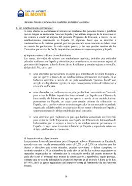 14 Personas físicas o jurídicas no residentes en territorio