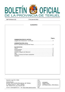 SUMARIO - Diputación Provincial de Teruel