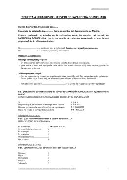 ENCUESTA A USUARIOS DEL SERVICIO DE LAVANDERÍA