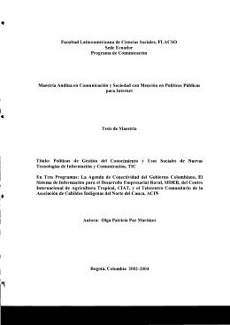 Page 1 .. Facultad Latinoamericana de Ciencias Sociales, FLACSO