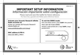 IMPORTANT SETUP INFORMATION Información importante sobre