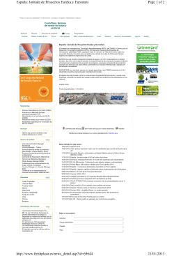 Page 1 of 2 España: Jornada de Proyectos Eureka y Eurostars 21