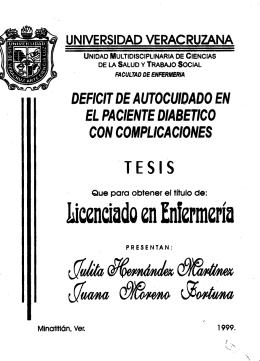 DEFICIT DE AUTOCUIDADO EN EL PACIENTE DIABETICO CON