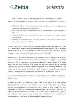 Zeltia informa que su filial Sylentis, ha alcanzado el