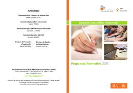 Propuesta Formativa 2015