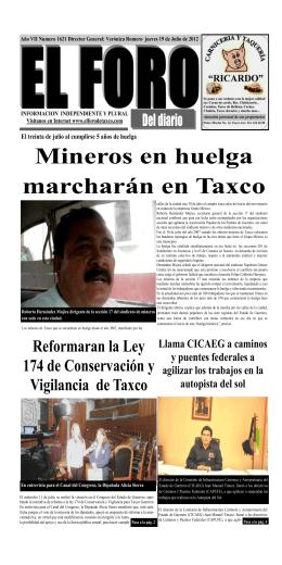 Mineros en huelga marcharán en Taxco