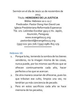 HEREDERO DE LA JUSTICIA Biblia: Hebreos