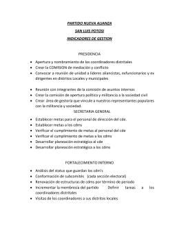 a) Indicadores de gestión - Nueva Alianza San Luis Potosi