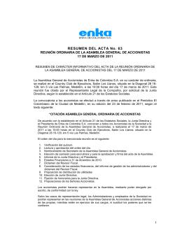 Extracto Acta 63 - Enka de Colombia