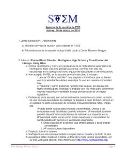 Agenda de la reunión de PTO Jueves, 06 de marzo de 2014 1.Junta