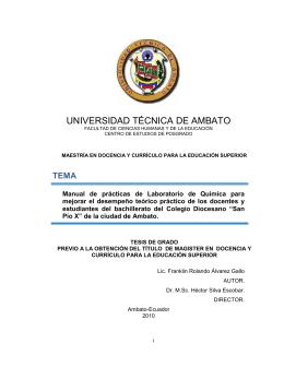 """colegio diocesano """"san pio x"""" - Repositorio Universidad Técnica de"""