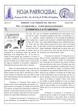 ¡COMIENZA LA CUARESMA! - iglesia nuestra señora de la paz