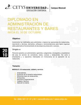 DIPLOMADO EN ADMINISTRACIÓN DE RESTAURANTES Y BARES