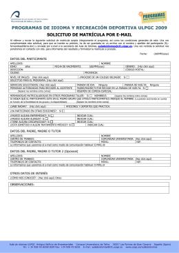 programas de idioma y recreación deportiva ulpgc 2009 solicitud de