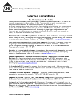Recursos Comunitarios - Affordable Housing Corporation of Lake