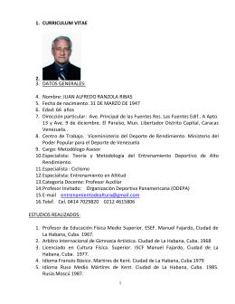 Curriculum Prof. Ranzola - Federación Venezolana de Actividades