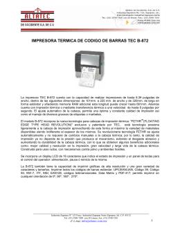 IMPRESORA TERMICA DE CODIGO DE BARRAS TEC B-872