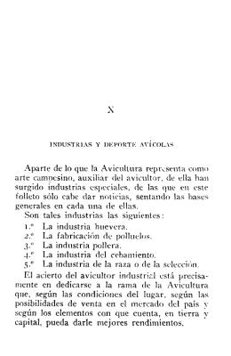 Capítulo X. Industrias y deporte avícolas