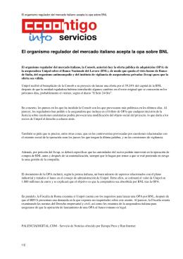 El organismo regulador del mercado italiano acepta la opa sobre BNL