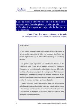 Evaluación e intervención en niños con trastornos fonológicos y