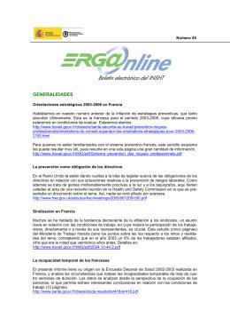 ERG@nline nº 45 - Instituto Nacional de Seguridad e Higiene en el