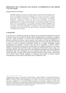 BIOPOLÍTICA DE LA TORTURA. LOS CASOS DE LAS PRISIONES