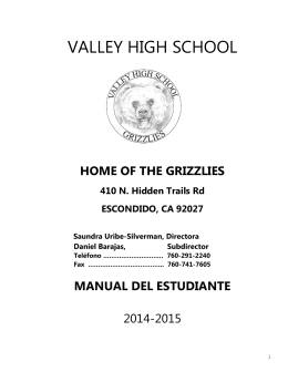 VALLEY HIGH SCHOOL - Escondido Union High School District