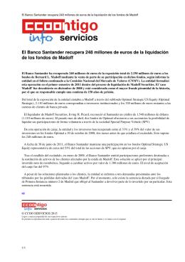 El Banco Santander recupera 248 millones de euros de la