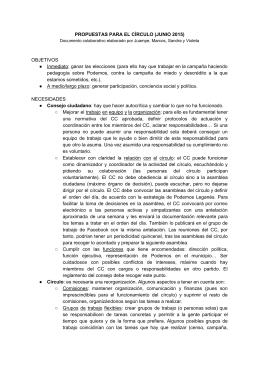 PROPUESTAS PARA EL CÍRCULO (JUNIO 2015) OBJETIVOS