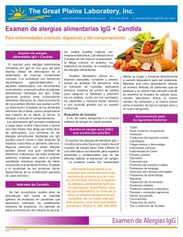 Vea el folleto de Alergias Alimentarias IgG + Cándida