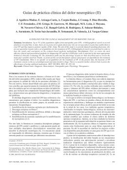 Guías de práctica clínica del dolor neuropático (II)