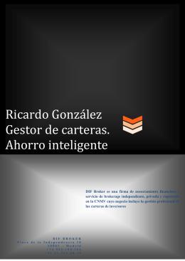 Ricardo González Gestor de carteras. Ahorro inteligente