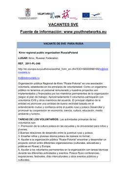 VACANTES SVE Fuente de información: www.youthnetworks.eu