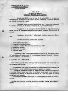 Concejo Municipal ACTA N°92 SESION ORDINARIA CONCEJO