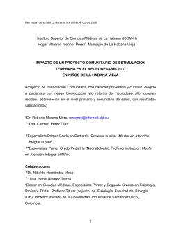 Impacto del Proyecto Comunitario de Estimulación Temprana en el