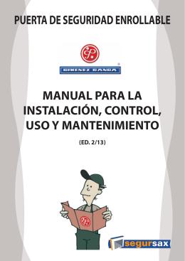 Manual para la instalación, control, uso y