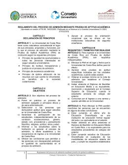 REGLAMENTO DEL PROCESO DE ADMISIÓN MEDIANTE