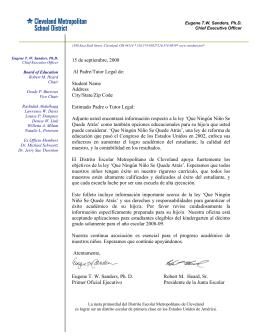 The 15 de septiembre, 2008 Al Padre/Tutor Legal de: Student Name