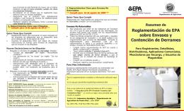 Reglamentación de EPA sobre Envases y Contención de