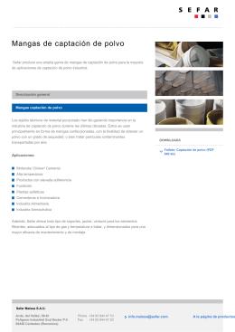 Filtración – Mangas captación de polvoMangas de captación de polvo