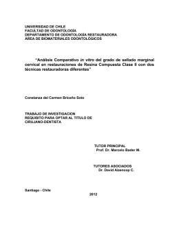 """""""Análisis Comparativo in vitro del grado de sellado marginal cervical"""