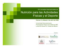 Nutrición para las Actividades Físicas y el Deporte