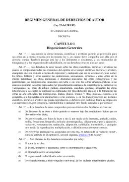 Ley N° 23 del 28 de enero de 1982 sobre derechos de Autor